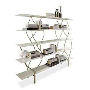 Albero bookcase, Bookshelf with curved frame in hand-polished metal