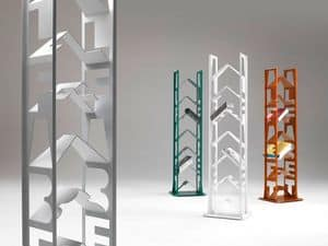 Alfabet, Bookcase in lacquered steel, adjustable feet, for modern houses