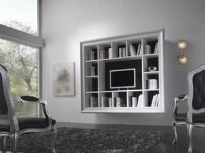 Art. H6005 MODERN BOOKCASE, Modern bookcase with 14 compartments, for living room