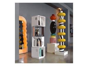 Bollicine Totem, Wooden bookcase, original shape
