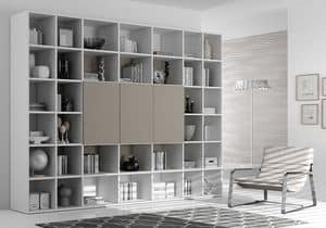 Bookcase AL 10, Bookcase with 3 closable boxes, in modern style