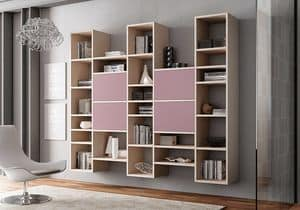 Bookcase AL 11, Bookcase with 4 doors with push-pull system