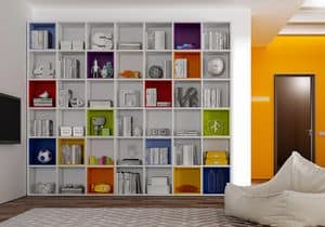 Bookcase AL 12, Modern bookcase with colorful boxes