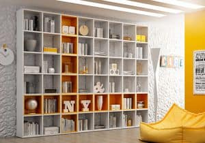 Bookcase AL 14, Bookcase with square boxes, in simple style
