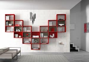 Bookcase AL 15, Hanging bookcase with outline boxes