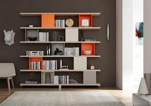 Bookcase AL 17, Bookcase made of shelves and square containers
