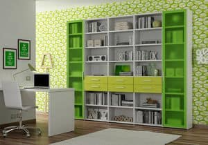 Bookcase AL 18, Bookcase with 2 doors in aluminum and methacrylate