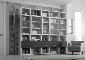 Bookcase AL 19, Bookcase with 5 transparent doors and 10 drawers