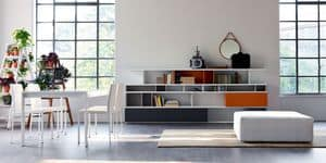 Citylife 09, Colored bookcase suited for modern living room