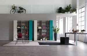 Citylife 32, Modern composition for living room, with library