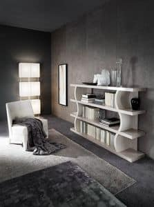 DUNE bookcase, Design bookcase with shelves with fris� effect
