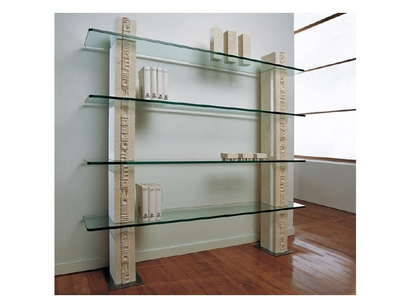 Etnica Bookcase, White stone bookcase, with glass shelves