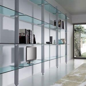 Elegant laminate bookcase with glass shelves for studio for Libreria acciaio e vetro