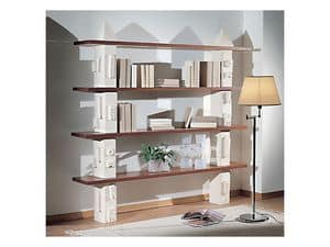 Gaia Bookcase, Modular bookcase made of stone, shelves in glass or wood