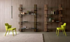 Infinity, Contemporary wooden bookcase with glass shelves stay