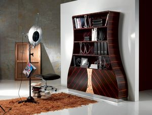 LB13 Cartesio, Bookcase in Makassar ebony curved wood, floral decorations