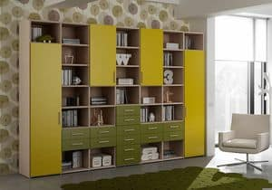 Bookcase AL 20, Bookcase with 14 drawers and 4 doors