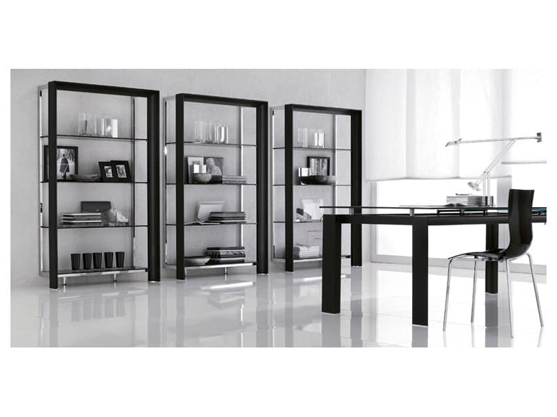 MIAMI Bookcase, Precious Bookcase With Glass Shelves, For Modern Living Room
