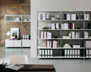 Socrate home-office, Bookcase in metal and glass, various finishes