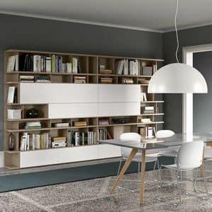 Spazioteca SP020, Modern modular bookcase in wood, customizable