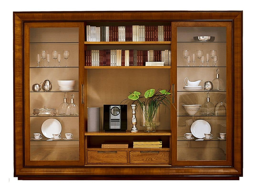 bookcase with 2 sliding glass doors idfdesign