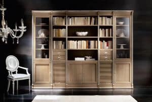 Victoria Art. 03.003, Modular library with oak cabinets and display cabinets