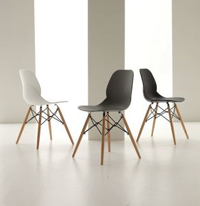Art. 022 Shell Wood, Polypropylene chair with wooden legs