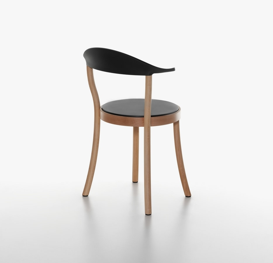 Monza Bistro mod. 1212-20, Chair with round seat, in beech and plastic