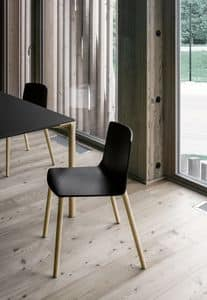 Rama Wood Base polypropylene, Plastic chair with wooden legs, for conferences