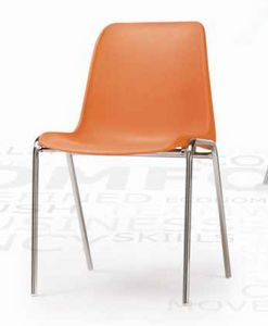 Helene, Stackable chair with plastic shell