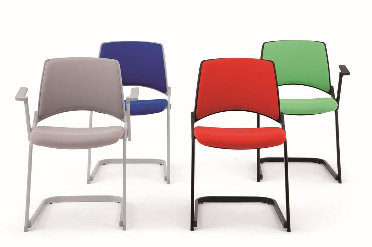 Opl� sled base, Chair with sled base, can be equipped with armrests and writing tablet, for office and conference