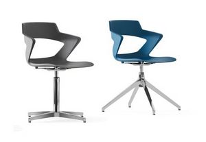 SHELL, Monocoque chair in polypropylene, swivel, base with 4 spokes