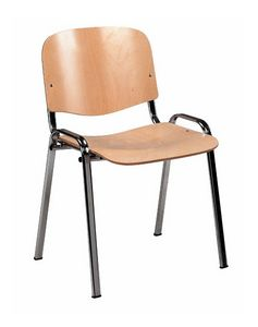 Stella wood 100, Chair for multipurpose rooms, stackable, wooden seat