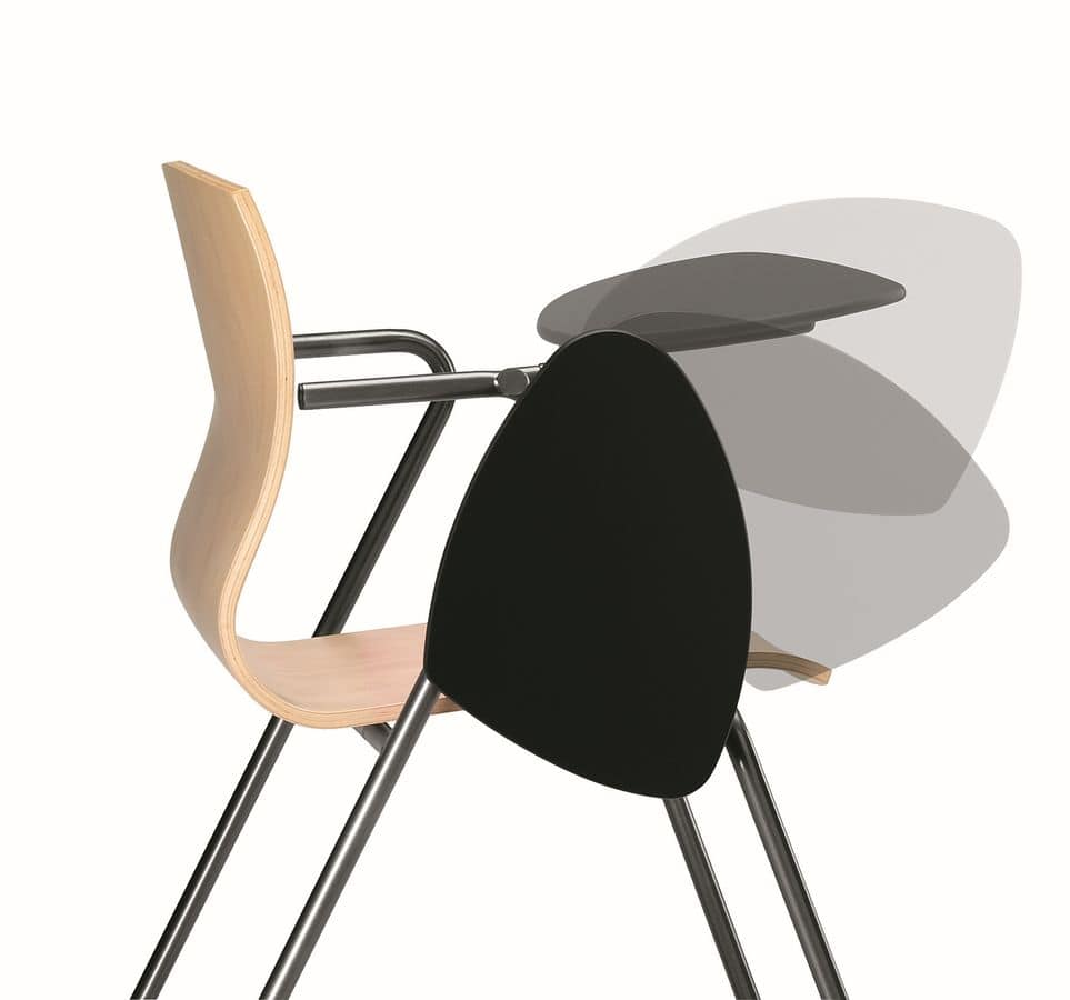 metal chair with wooden shell writing tablet idfdesign