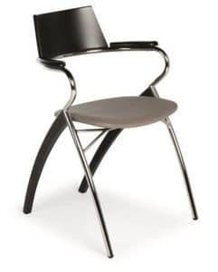 Anna, Chair in metal and wood, upholstered seat, fabric covering