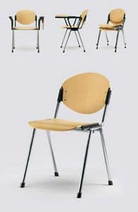Bonn wood, Chair for meeting room, seat and back in natural beech
