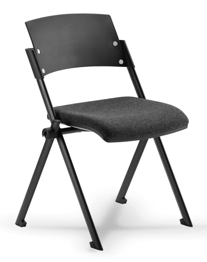 Comoda 01, Stackable chair with folding seat, for conference room