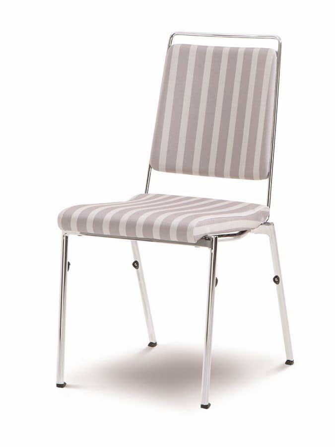 Evosa Congress 08/5, Stackable chair in chromed steel, fireproof seat, anatomic back, for conference rooms