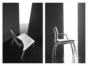 Miss 4 legs, Chair with plywood shell coated, chrome legs