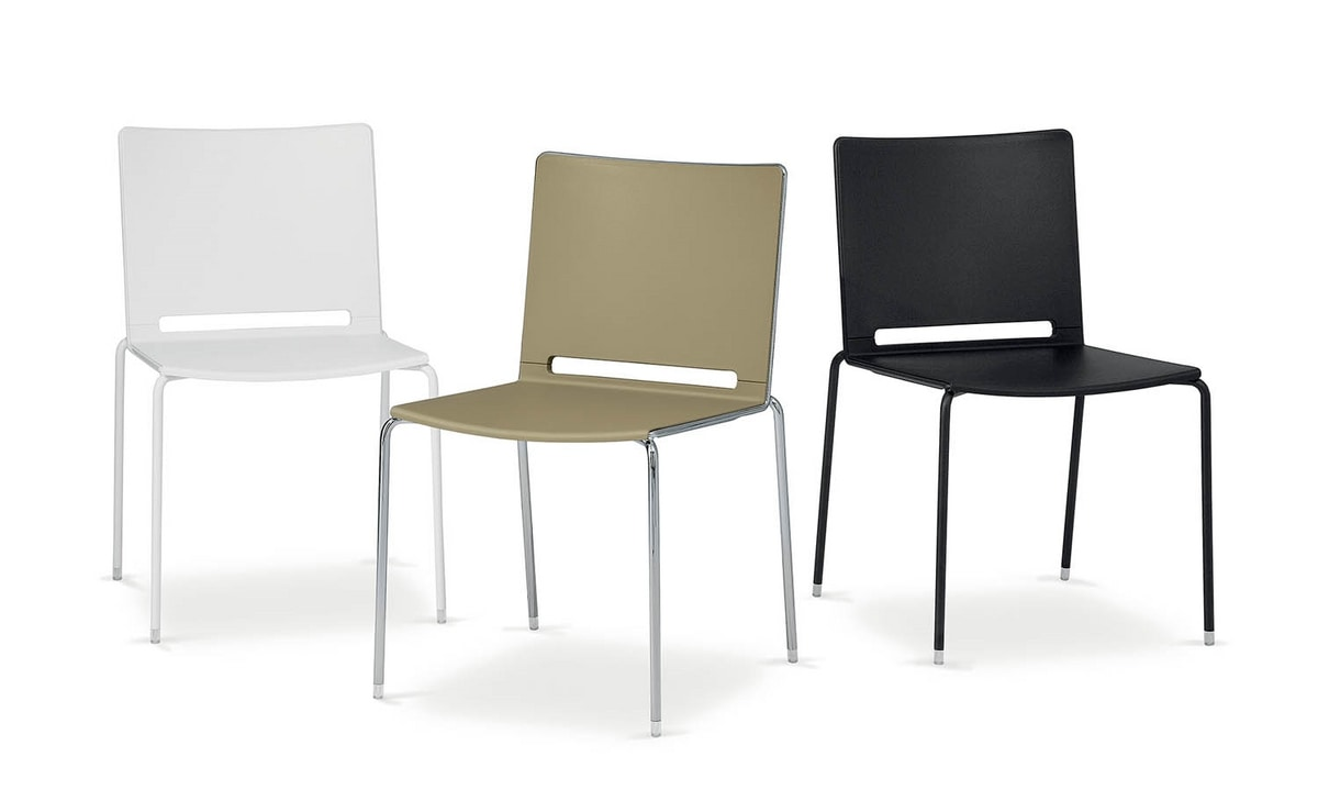 Padded chair in metal and plastic in different colors for Different color chairs