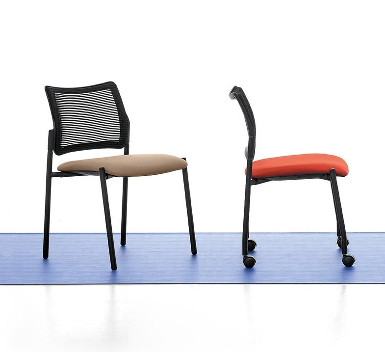 Urban Air 01, Upholstered chair, with net back, for conference