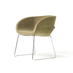 Vanity 4 legs, Armchair with 4 chrome legs, metal interior shell