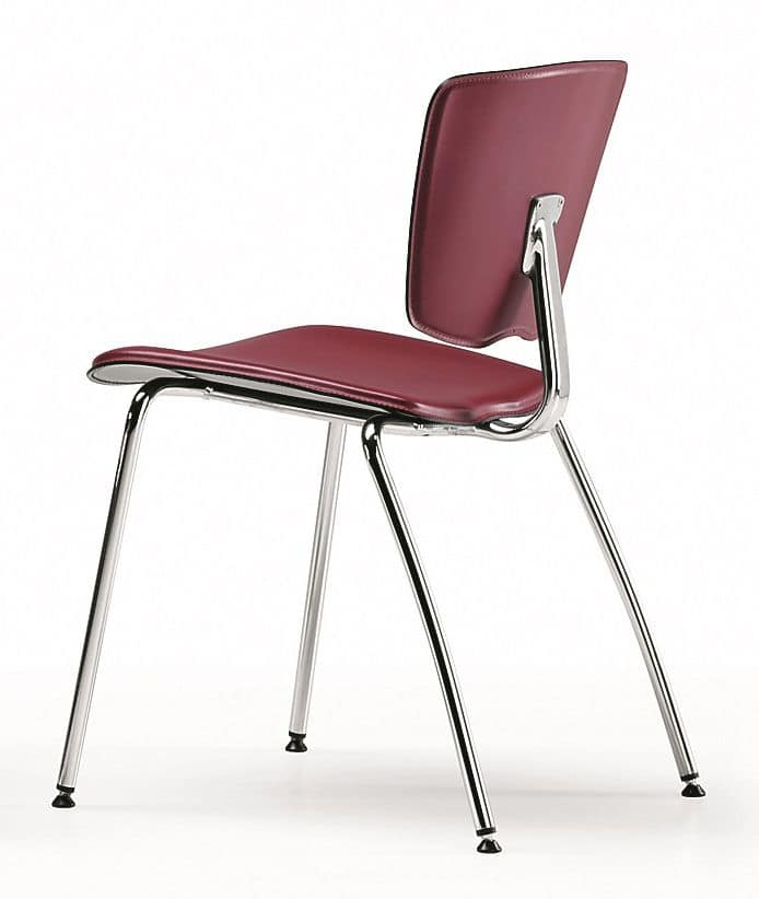 VEKTATOP 120, Stackable metal chair, seat covered in leather