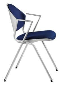 NESTING DELFI 089 S, Stackable metal chair with padded seat