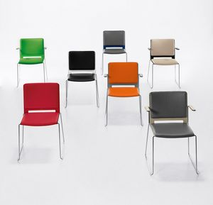 Easy Soft 02, Padded stackable chair with armrests, steel base
