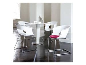 Miss b cantilever, Visitor chair in polycarbonate and steel, various colors