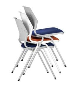 NESTING DELFIBRIO 063, Stackable chair with padded seat