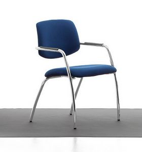 Samba 02, Chromed metal chair, upholstered seat and back, for office