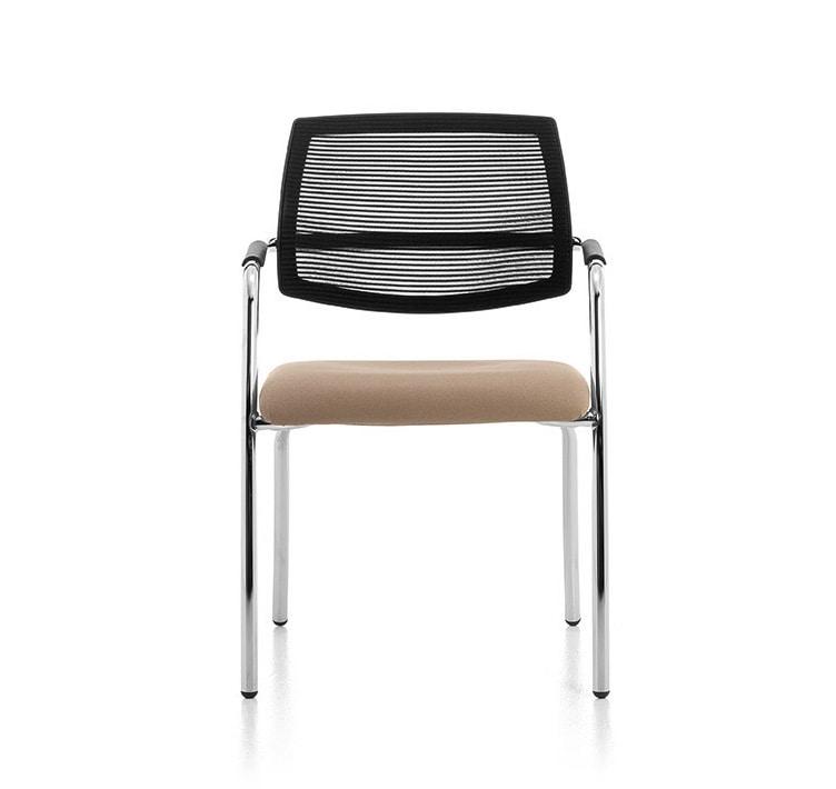 Samba AIR 02, Chair with 4 legs in chromed metal, mesh back