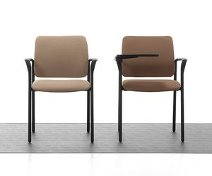 Urban Soft 02, Padded stackable chair with armrests for meeting room